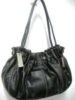 Adrienne Vittadini Laura Lambskin Leather Cinched Hobo in Black