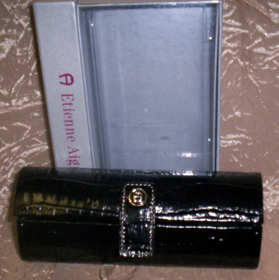 Etienne Aigner Croc Embossed Leather Black Eyeglass Case