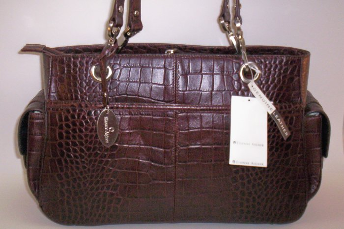 Etienne Aigner Gondola Collection Croco Leather Shoulder Bag in Dark Brown