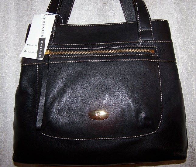 Etienne Aigner Safari Collection Black Leather Shopper Style Handbag