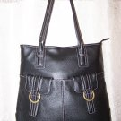 Anne Klein Double Ring Leather Shopper Shoulder Bag in Black
