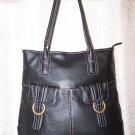 Anne Klein Double Ring Leather Shopper Shoulder Bag in Black