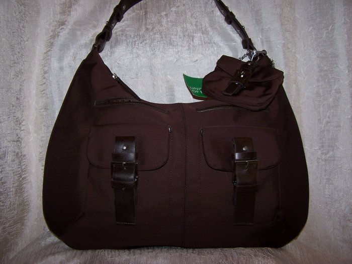 United Colors of Benetton Moment Flat Hobo Bag in Brown