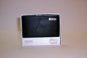 Calvin Klein Leather Bi-Fold Wallet with ID Flap in Black