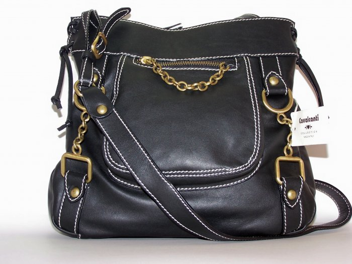 Cavalcanti Italian Leather Shopper Style Shoulder Bag in Black