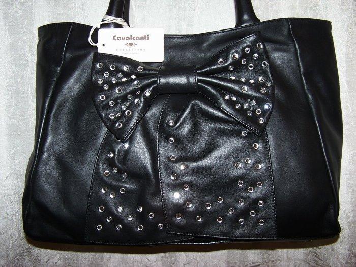 Cavalcanti Italian Leather Demi Style Handbag with Rhinestone Bow in Black