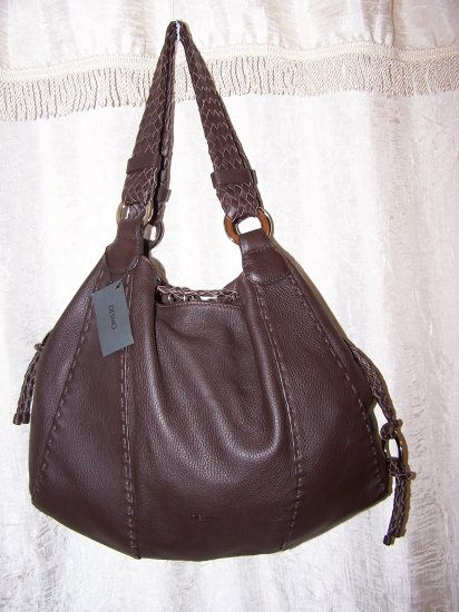 Desmo Borsa Cervo Moka Italian Leather Large Hobo Shoulder Bag