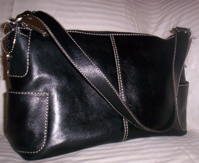 Fossil Reece Medium Leather Hobo Shoulder Bag in Black