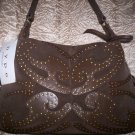 Hype Dorado Suede Studded Hobo Shoulder Bag in Brown