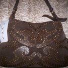 Hype Dorado Suede Studded Hobo Shoulder Bag in Brown