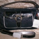 Liz Claiborne Heritage Mosaic Logo Satchel Shoulder Bag in Black