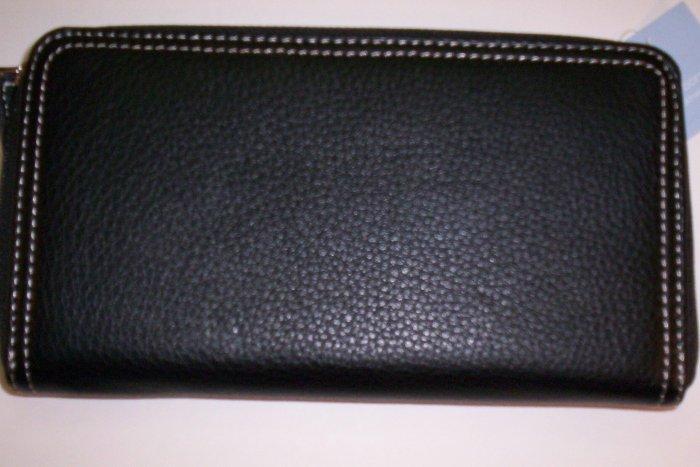 New Liz Claiborne Newberry Flats Leather Zip-Around Clutch Wallet in Black