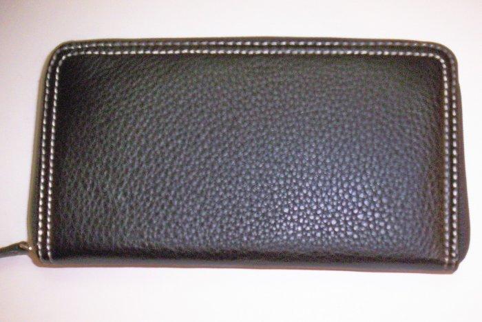 New Liz Claiborne Newberry Flats Leather Zip-Around Clutch Wallet in Brown