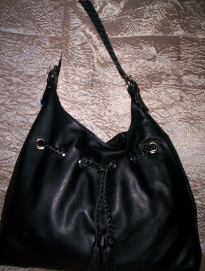 Melie Bianco Braided Drawstring Hobo Shoulder Bag in Black