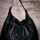 Melie Bianco Braided Drawstring Hobo Shoulder Bag in Black