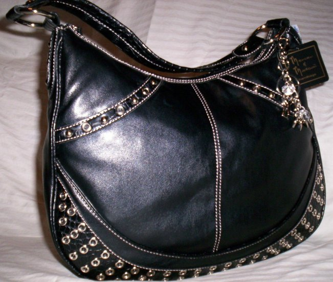 Mercer & Madison Dali Grommet Hobo Shoulder Bag in Black