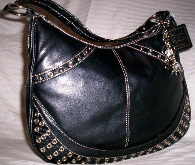 Mercer & Madison Dali Grommet Hobo Shoulder Bag in Black