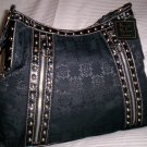 Mercer & Madison Diamond Signature Print Studded A-Line Hobo Shoulder Bag in Black