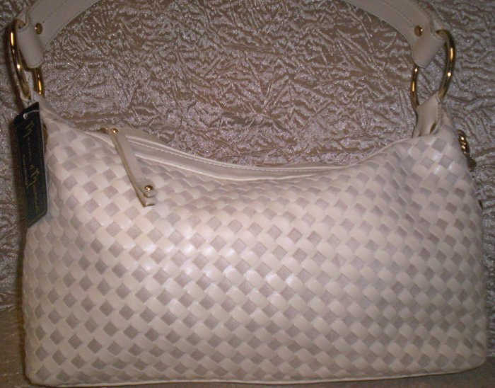 Mercer & Madison Sicily Woven Top Zip Shoulder Bag in Bone