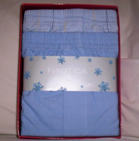 Gift Set of 2 Nautica XL Woven Boxers in Shades of Blue