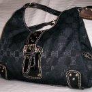 Pritzi Ribbon Signature A-Line Shopper Shoulder Bag in Black