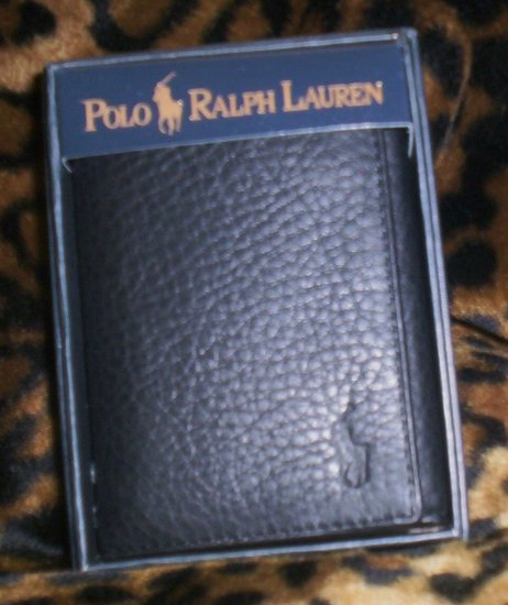 Ralph Lauren Cordoba Leather Tri-Fold Wallet in Black