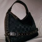 Pritzi Ribbon Signature Top Zip Hobo Shoulder Bag in Black
