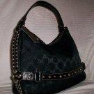 Pritzi Ribbon Signature Top Zip Hobo Shoulder Bag in Black