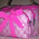 Lauren by Ralph Lauren Gift Set of 3 Cosmetic Case Travel Bags in Hot Pink and Clear