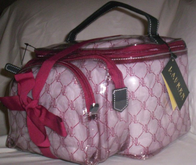 Lauren by Ralph Lauren Gift Set of 3 Cosmetic Case Travel Bags in Burgundy and Clear