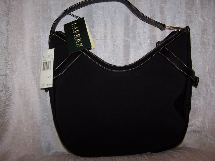 Lauren by Ralph Lauren Black Nylon Hobo in Black