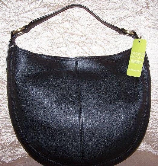 Sigrid Olsen Wakefield Pebbled Leather Hobo Handbag in Black