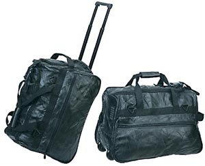 Genuine Patchwork Leather 20 Inch Wheeled Travel Bag in Black