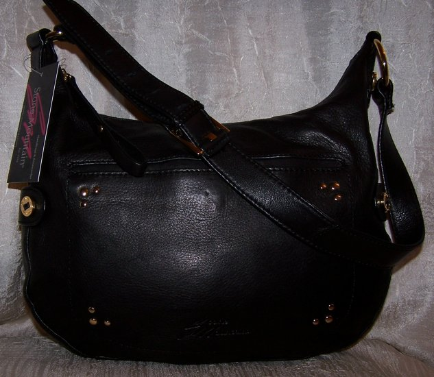 Stone Mountain Greenwood Lake Leather Hobo Shoulder Bag in Black