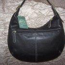 Stone Mountain Vegas Leather Hobo Shoulder Bag in Black