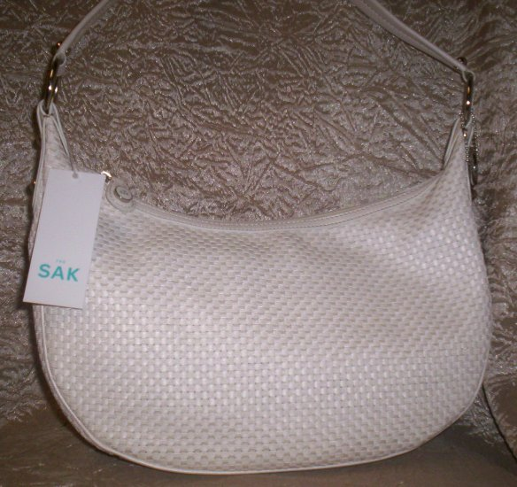 The Sak Azura Genuine Leather and Grosgrain Ribbon Woven Hobo in White
