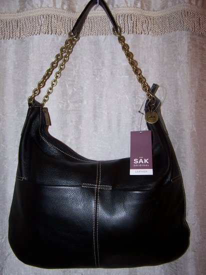 The Sak Corinne Pebbled Leather Hobo Shoulder Bag in Black