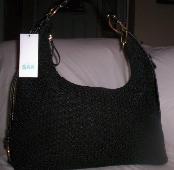 The Sak Darla Macramé and Leather Hobo Shoulder Bag in Black