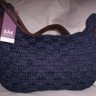 The Sak Jessica Macramé and Leather Hobo Shoulder Bag in Midnight