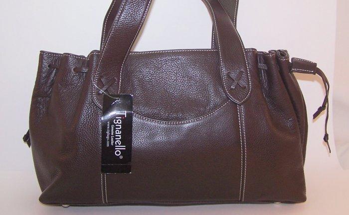 Tignanello Wellington Genuine Leather Satchel Style Shoulder Bag in Brown