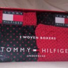 Gift Set of 2 Tommy Hilfiger Large Woven Boxers in Red and Navy Blue