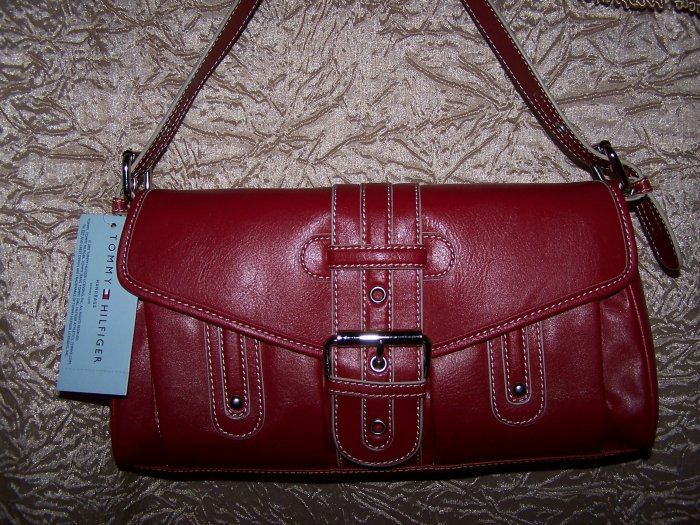 Tommy Hilfiger Name Game Flap Handbag in Red