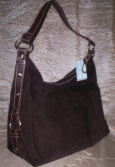 Tommy Hilfiger Snapped Up Medium Corduroy Hobo Shoulder Bag in Brown