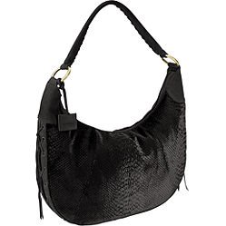 Via Spiga Emma Python-Embossed Velvet and Suede Shoulder Bag in Black
