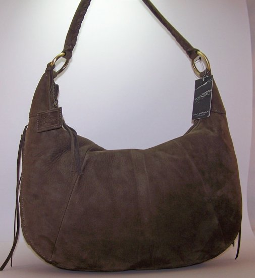 Via Spiga Felicity Suede Hobo Shoulder Bag in Loden (Khaki Green)