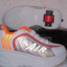 Air Skate Brand Heelies / Wheelies in White/Orange/Silver Youth Size 13