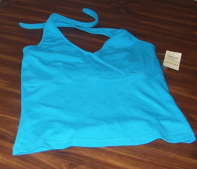 Misses St. John�s Bay Turquoise Halter Top Built In Bra Size Small New with Tags!