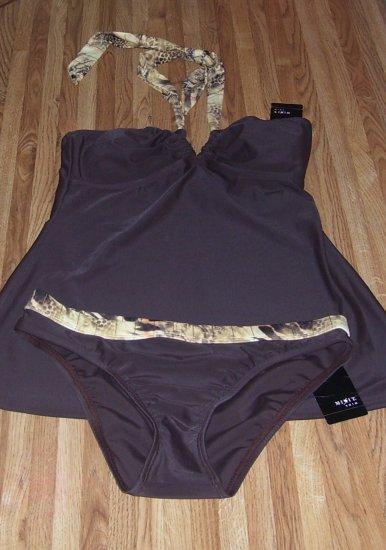 Mix It 2 pc  Brown Tankini Swimwear Misses Sz Small NWT