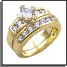 Compass Cut Gold Plated Wedding Set