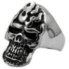Flaming Skull Stainless Steel Ring